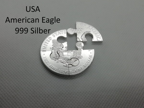 Münzpuzzle USA 1 Dollar American Eagle Silber 999